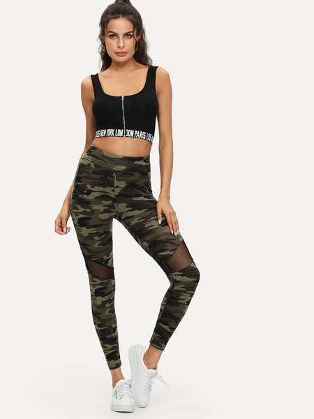 Mesh Insert Camo Leggings | Leggings | SHEIN | Joan & Vern's Apparel