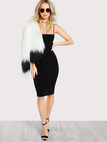 Black Cami Bodycon Midi Dress