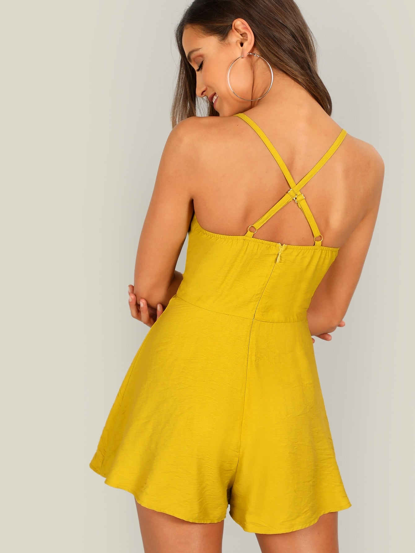 Yellow Button Front Cami Romper