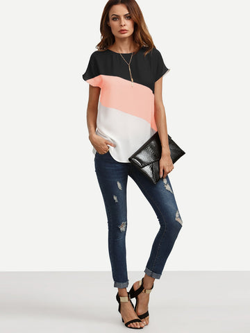 Pink Black & White Color Block Top