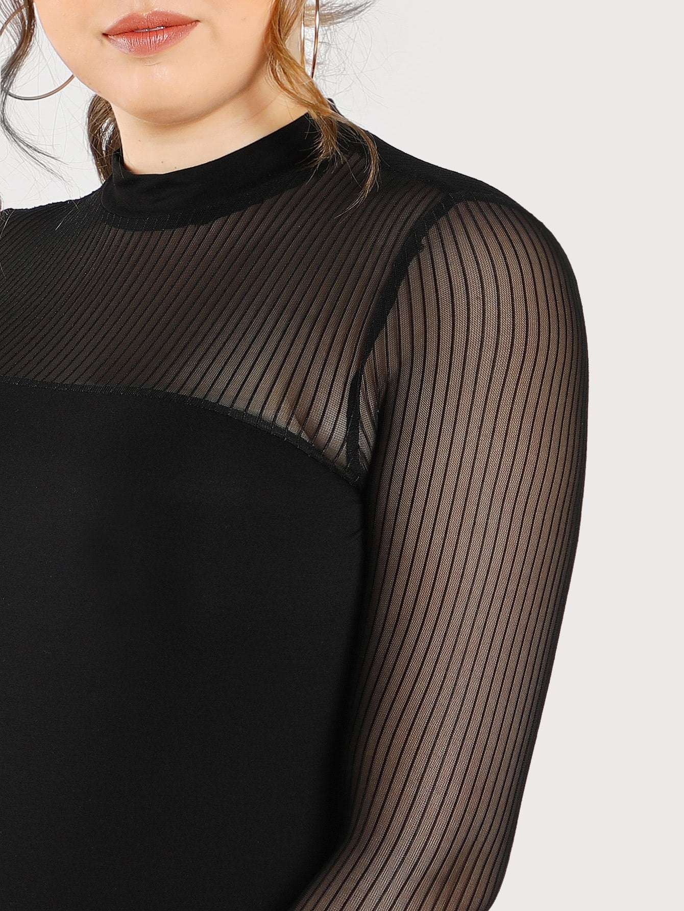 Plus Size Black Transparent Mesh Long Sleeve Top