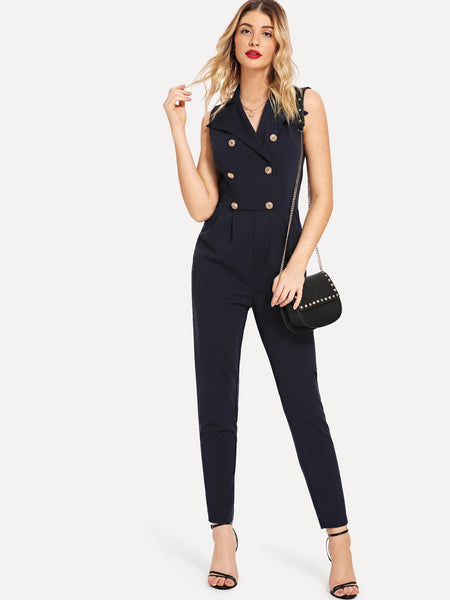 Sleeveless Double Button Pleated Jumpsuit
