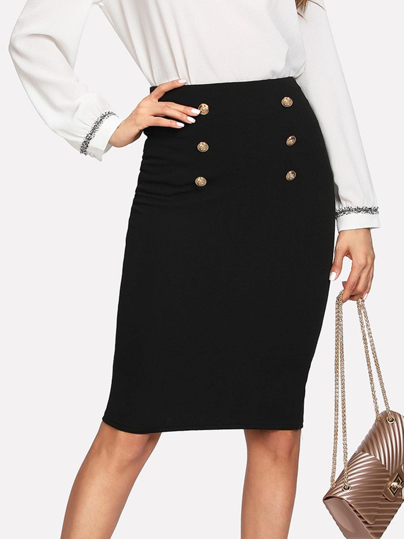 Black Double Button Pencil Skirt