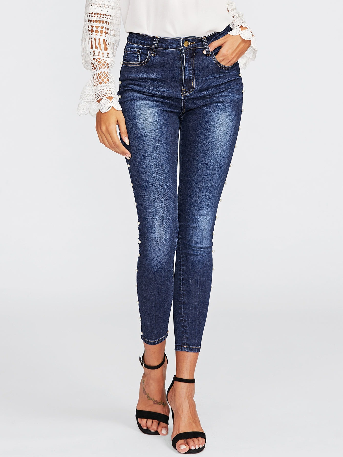Pearl Beaded Faded Wash Skinny Jeans | Jeans | SHEIN | Joan & Vern's Apparel