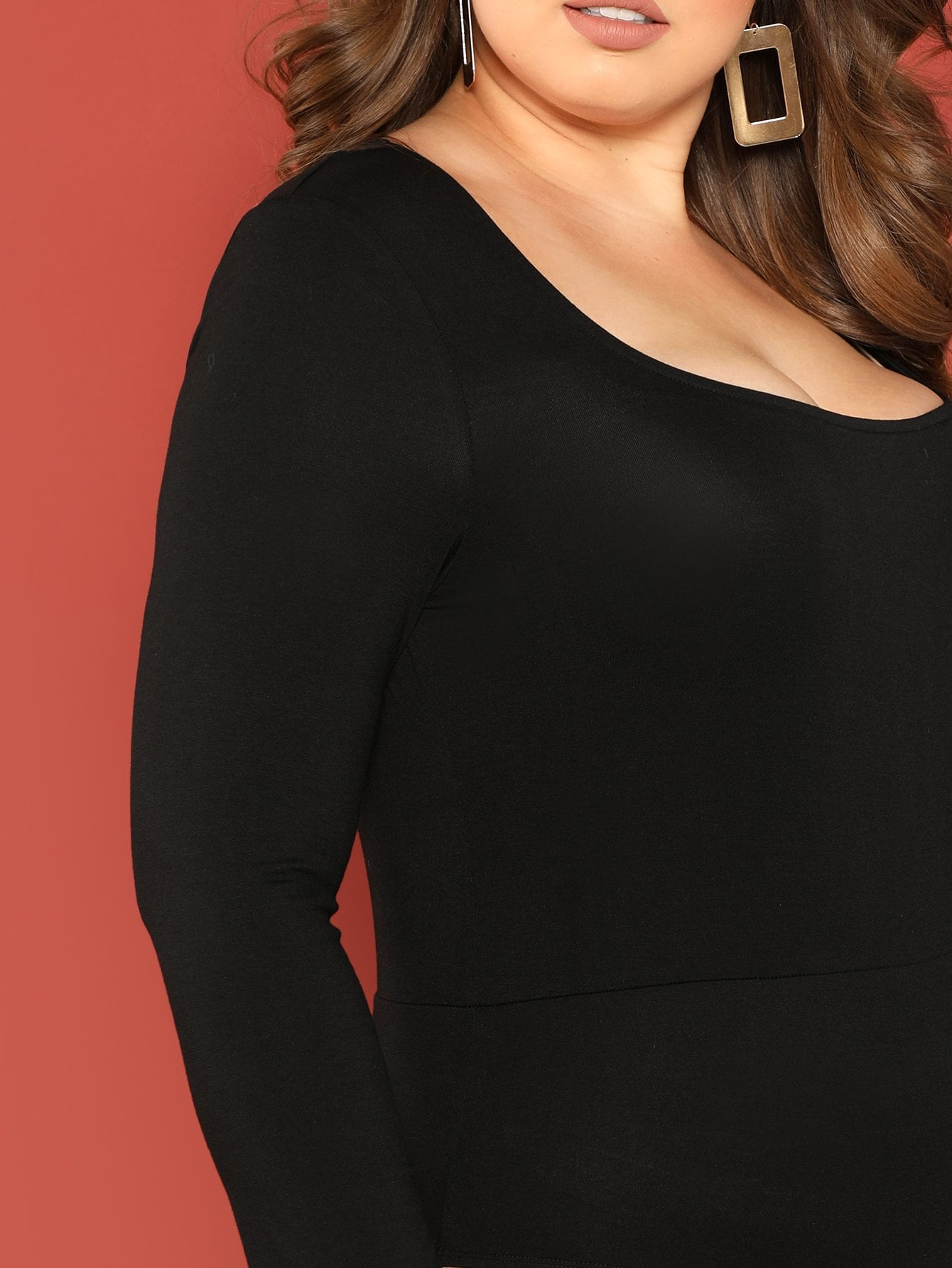 Plus Size Square Neck Solid Black Bodysuit