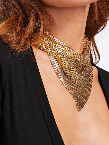 Triangle Sequin Overlay Necklace