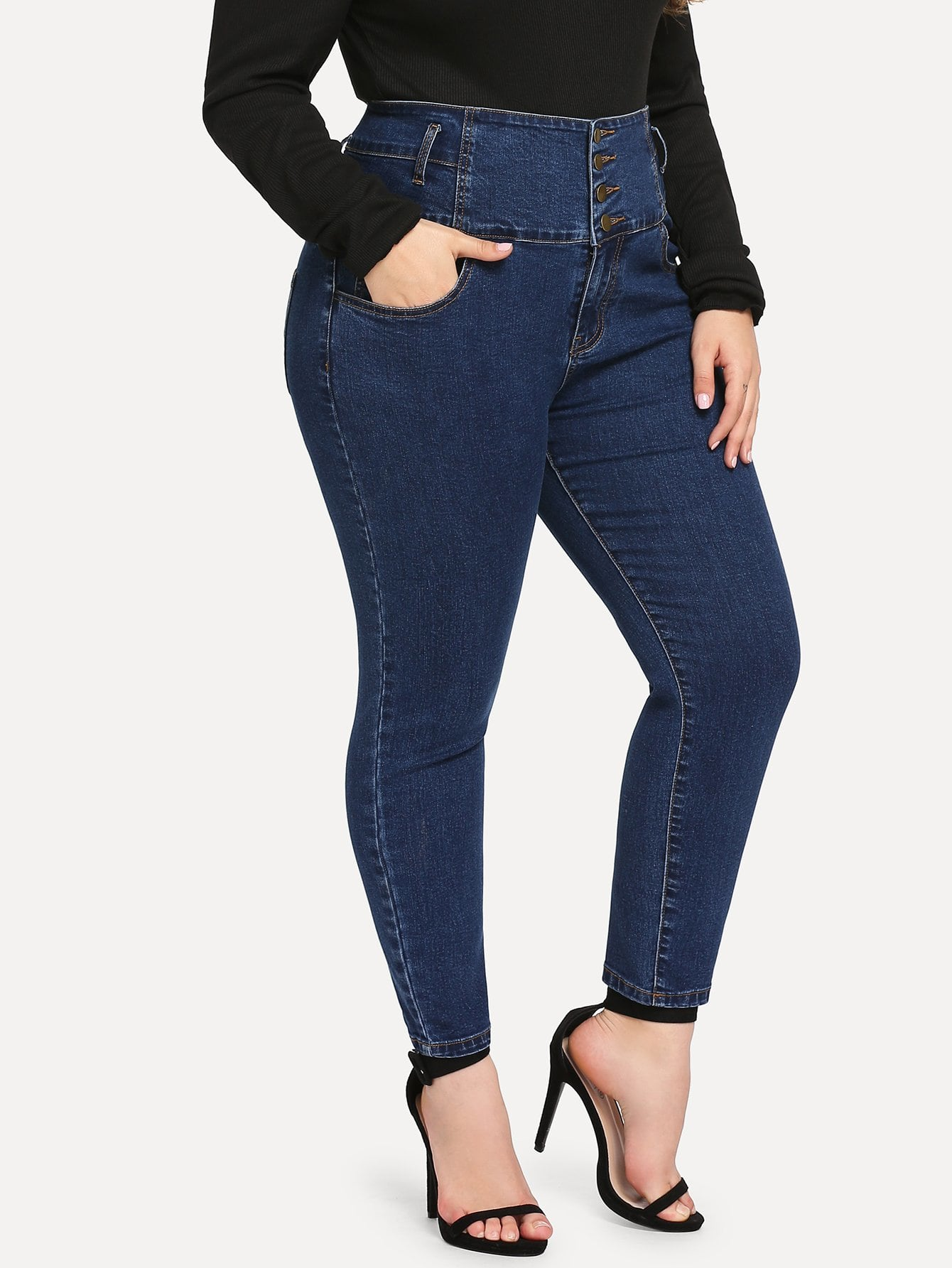 Plus Size Button Up High Waist Jean