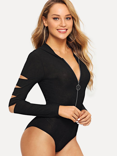 Black Zip Up Cut Out Hoodie Bodysuit | bodysuit | SHEIN | Joan & Vern's Apparel