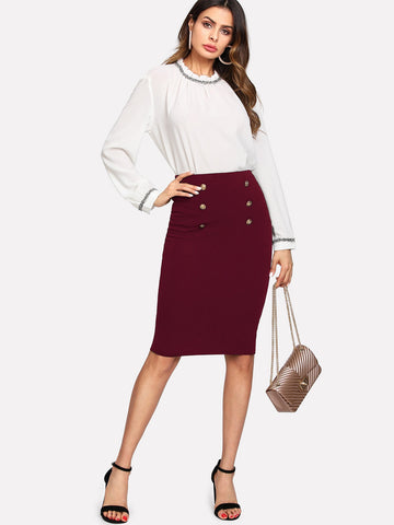 Burgundy Double Button Pencil Skirt