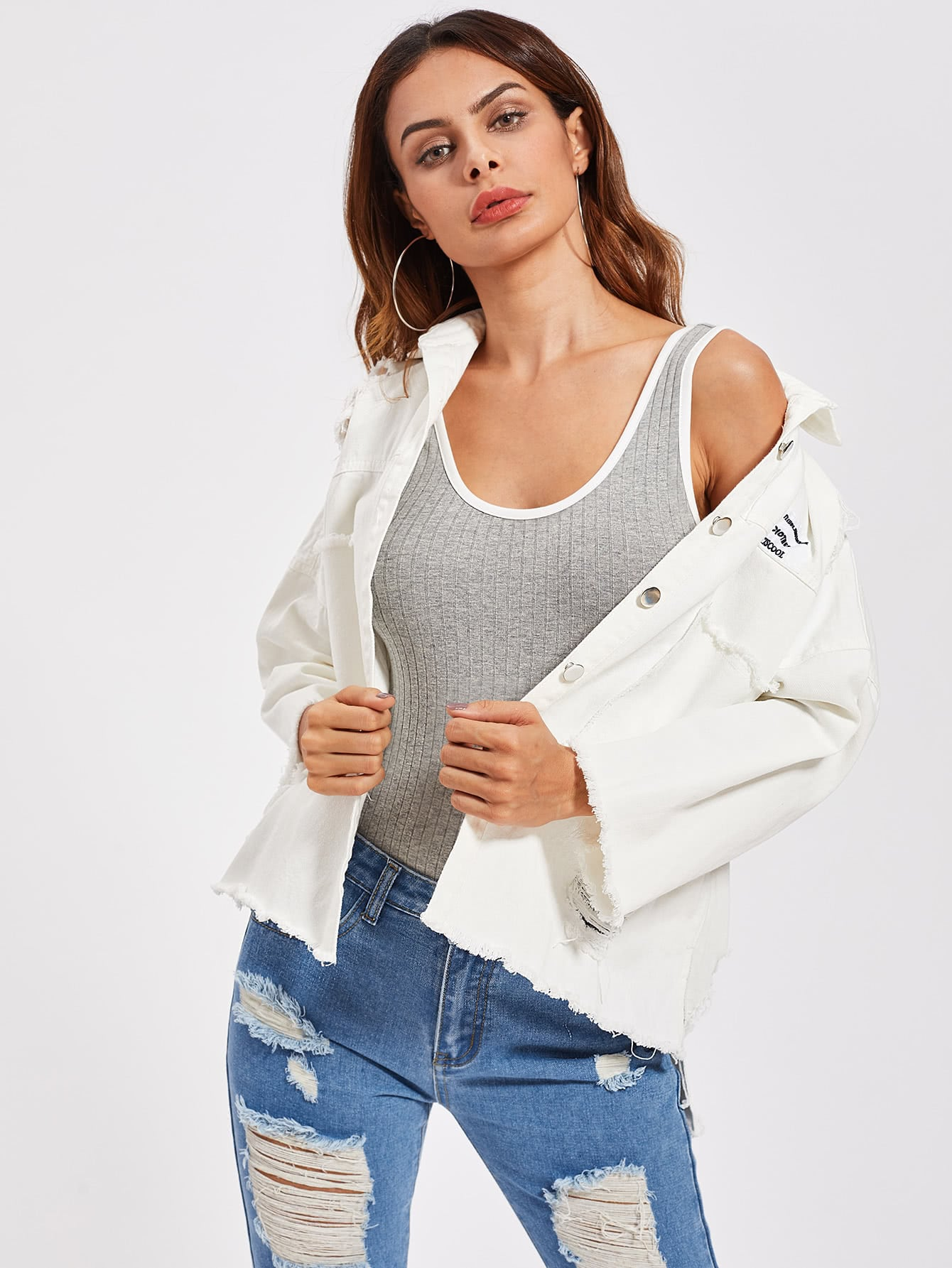 White Patch Back Distressed Jean Jacket | Jacket | SHEIN | Joan & Vern's Apparel