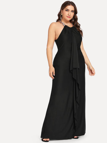Plus Size Black Ruffle Embellished Halter Maxi Dress