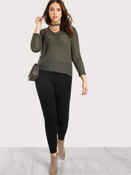 Plus Size Solid Black High Rise Leggings