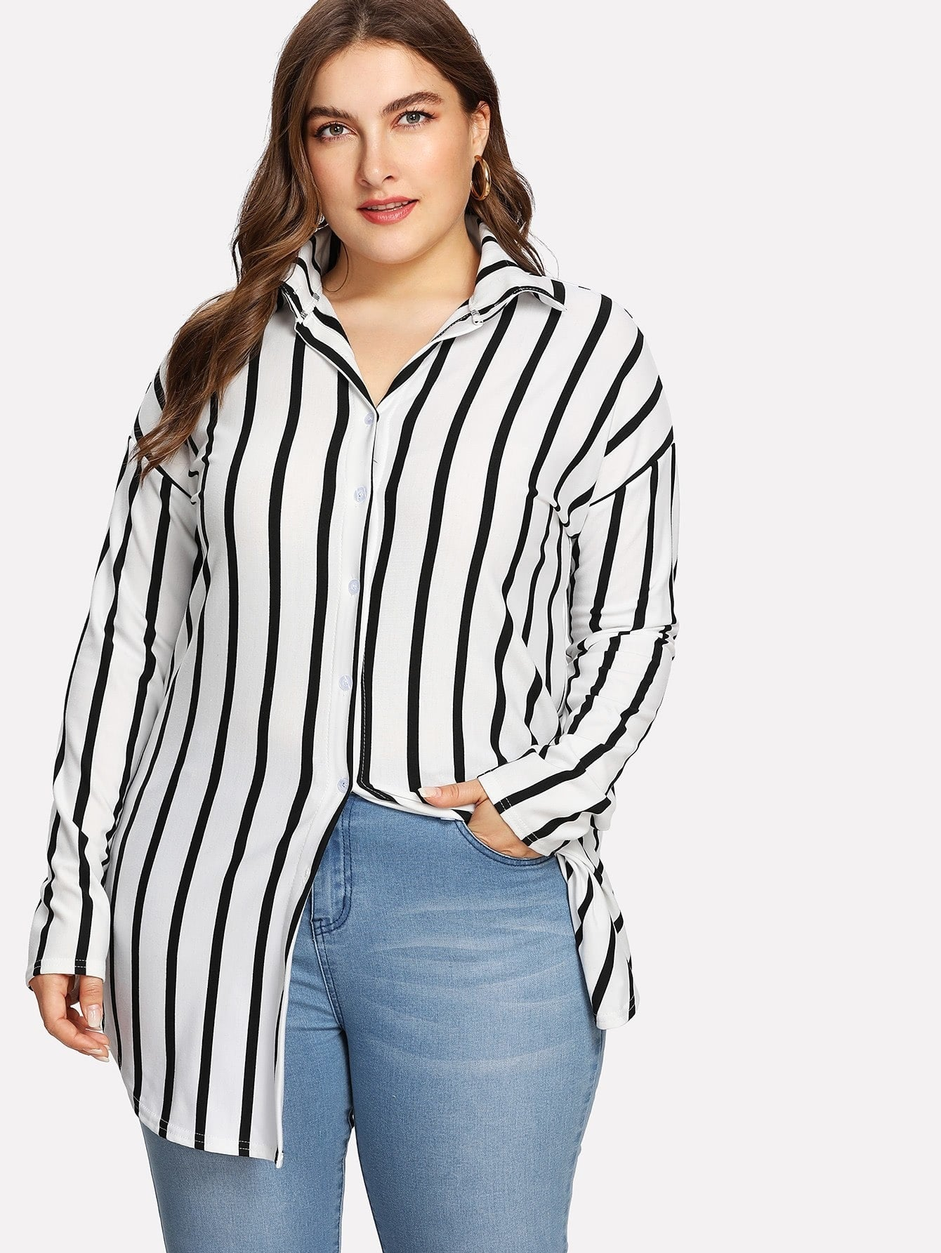 Plus Size Drop Shoulder Black & White Striped Shirt