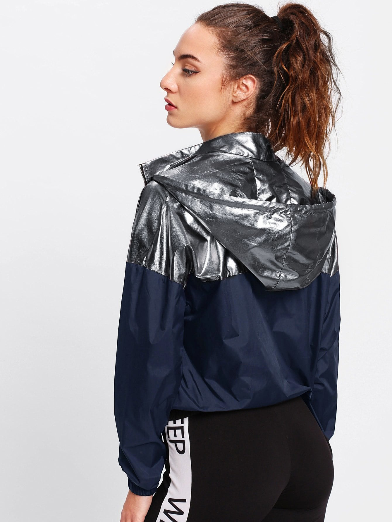 Metallic Two Tone Hoodie Jacket