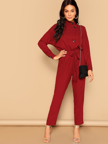 Button Front Self Belted Long Sleeve Burgundy Jumpsuit