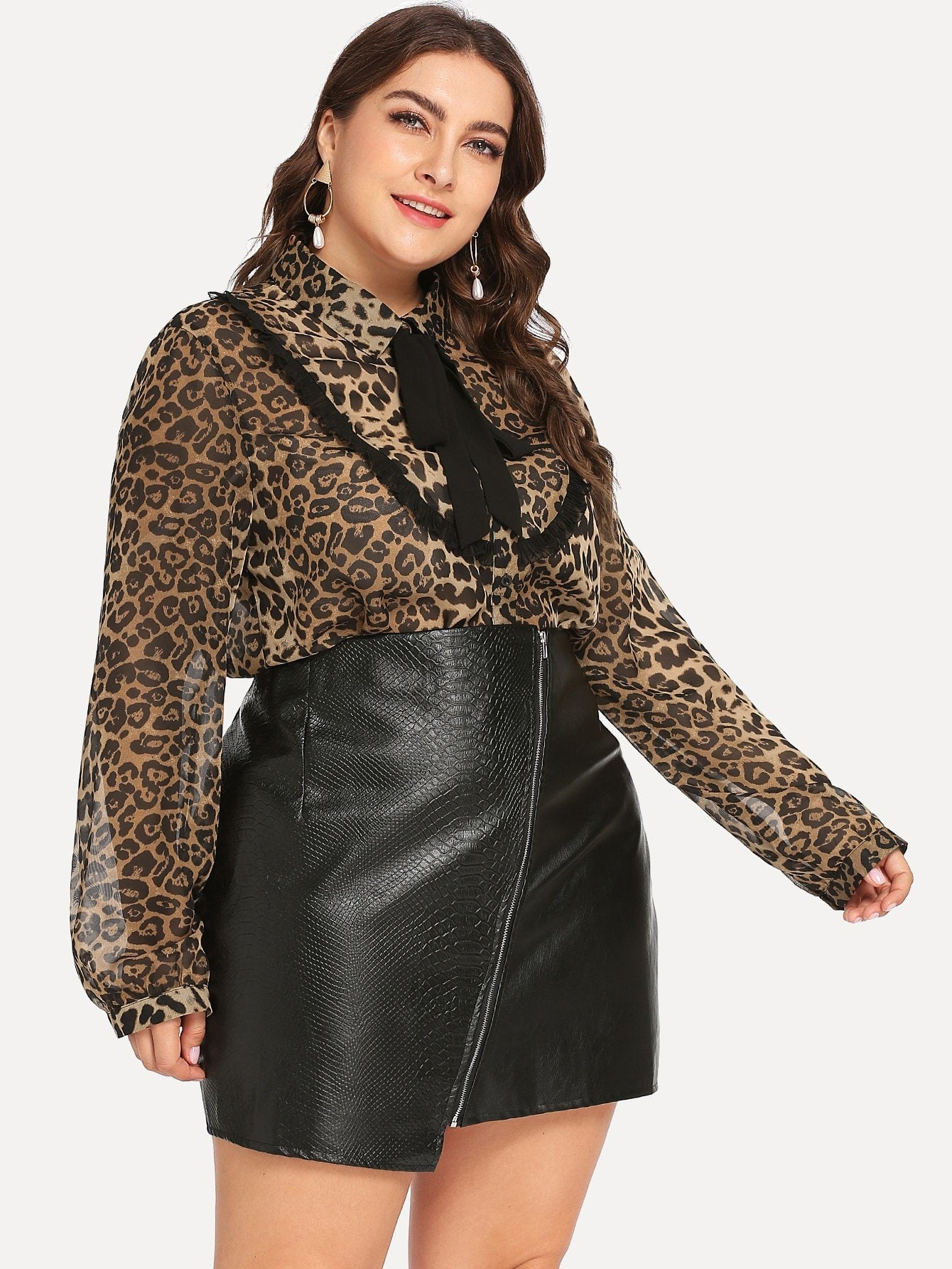Plus Size Long Sleeve Leopard Print Blouse | Plus Size Top | SHEIN | Joan & Vern's Apparel