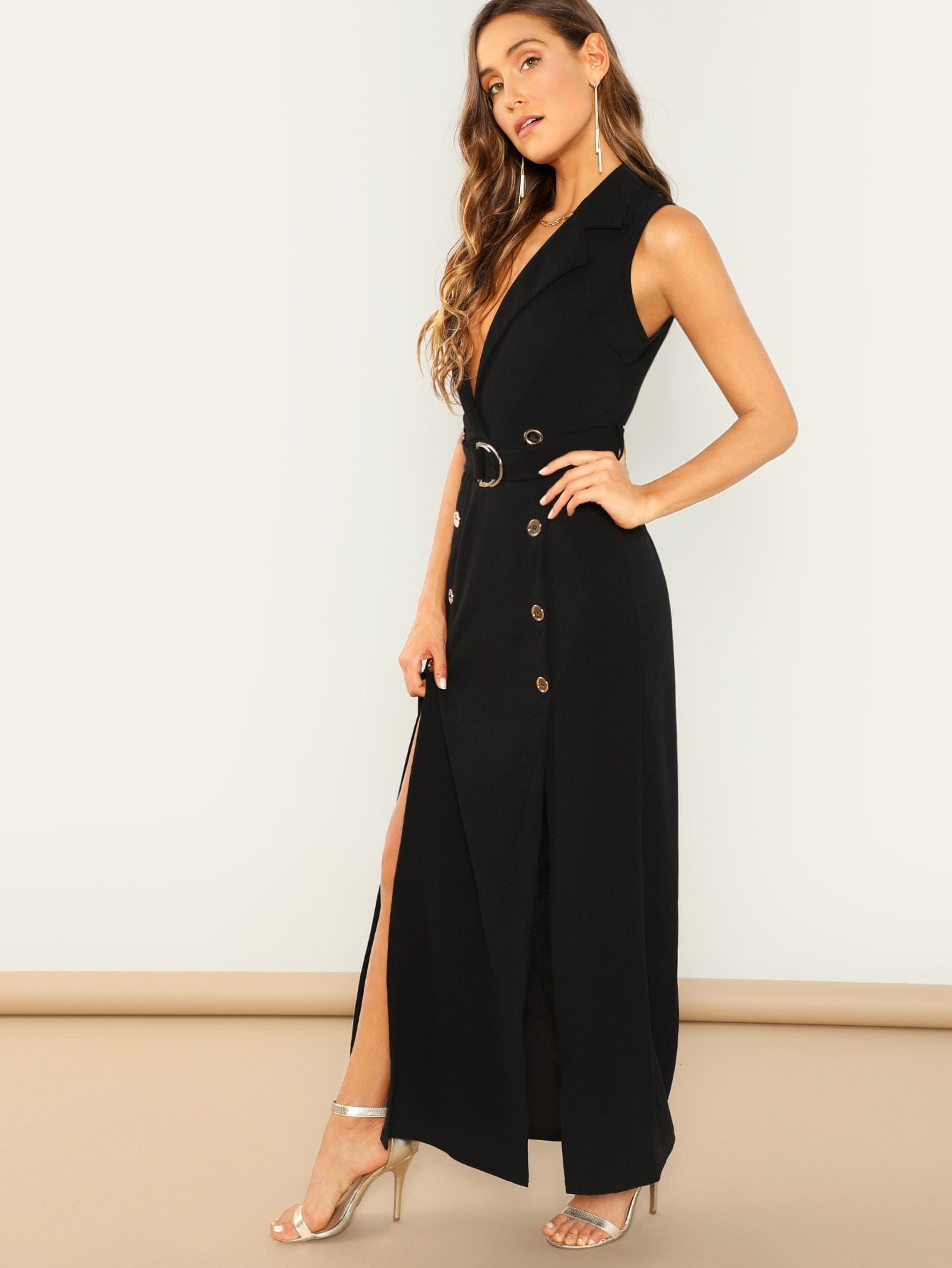 Black Belted Sleeveless Trench Maxi Dress