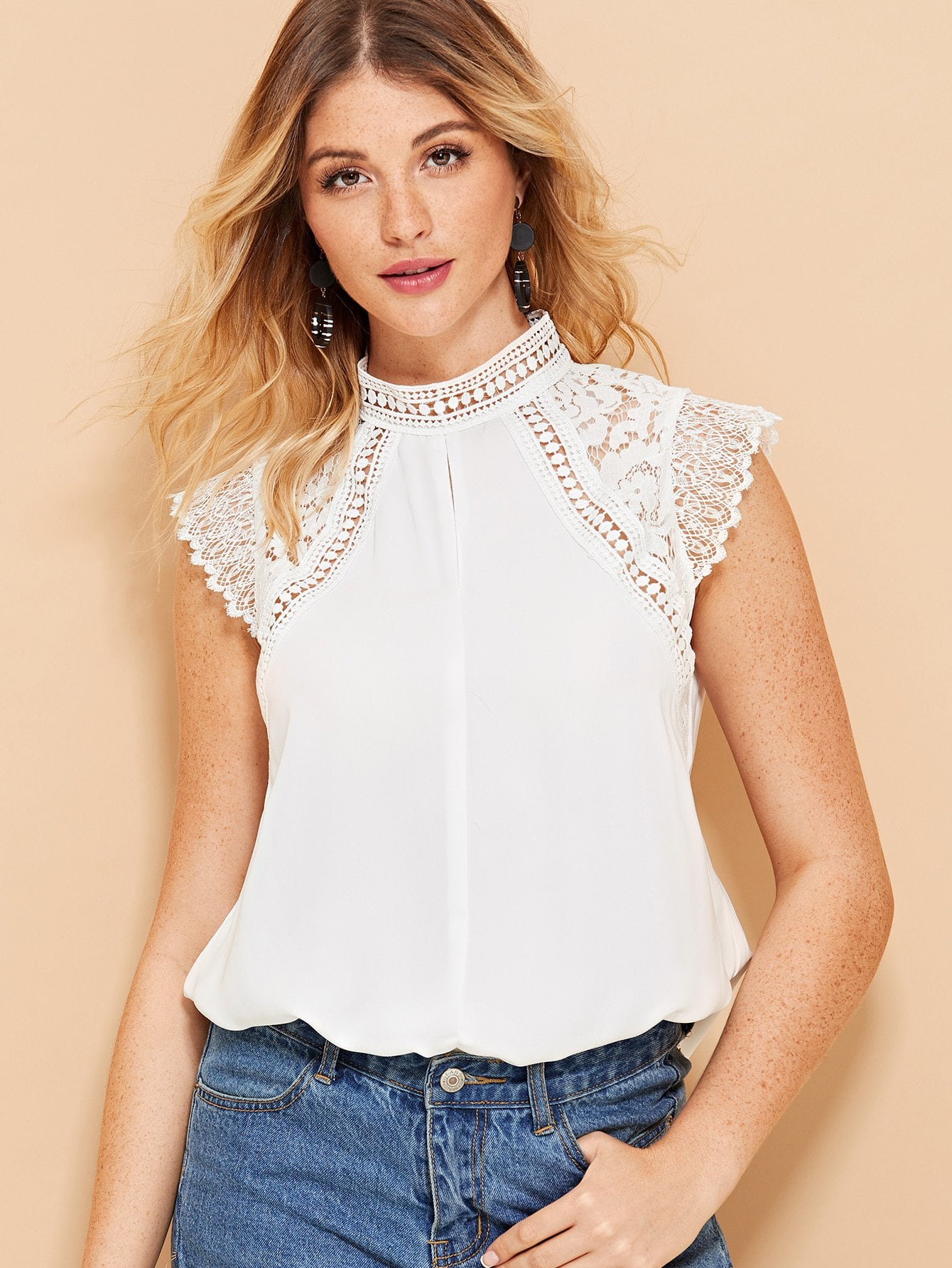White Contrast Lace Cap Sleeve Blouse