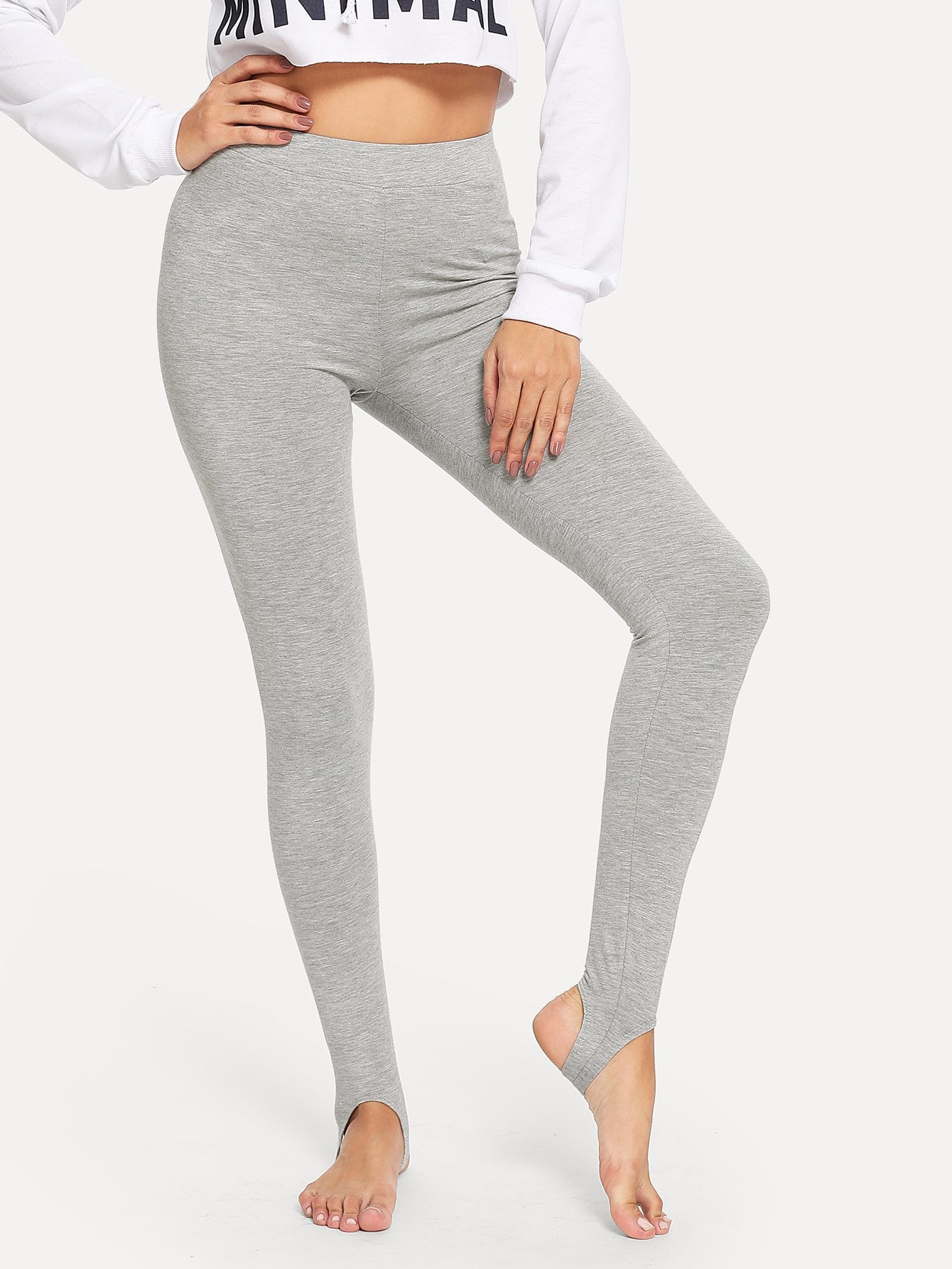 Grey High Waist Stirrup Leggings