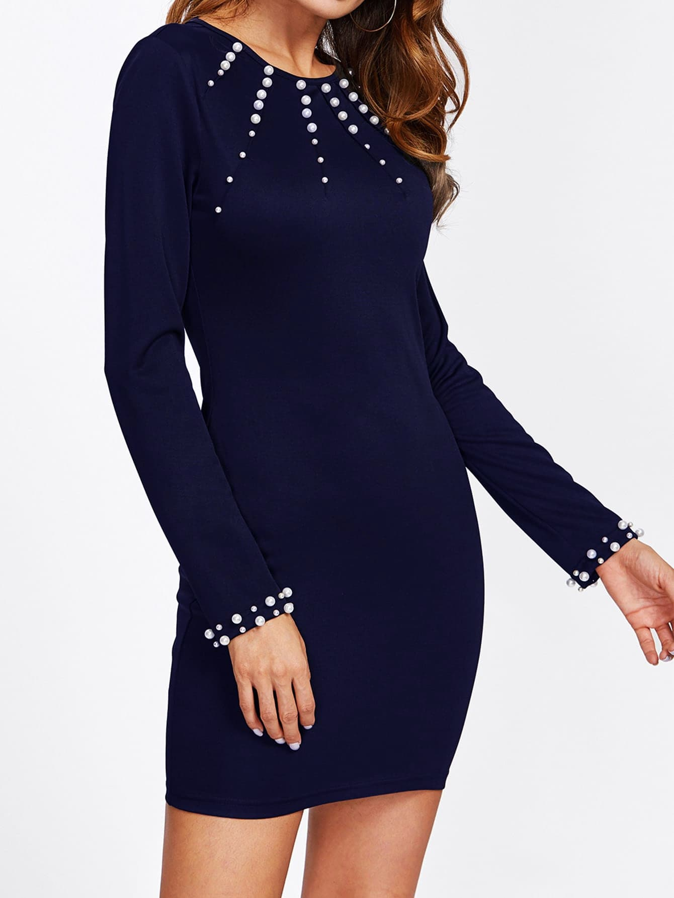 Pearl Beaded Embellished Navy Long Sleeve Mini Dress