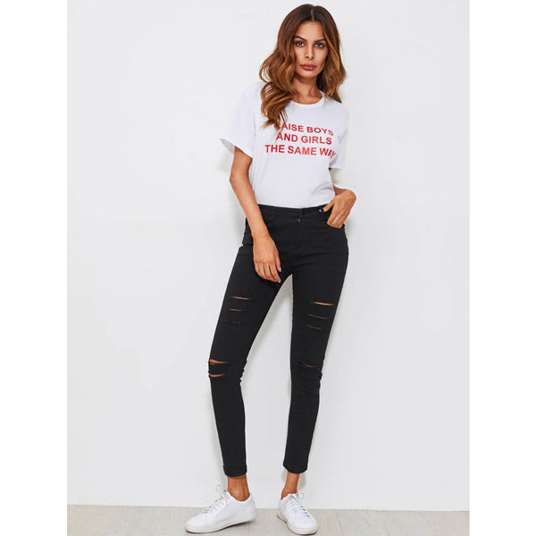 Black Ripped Stretch Skinny Jean | Jeans | SHEIN | Joan & Vern's Apparel