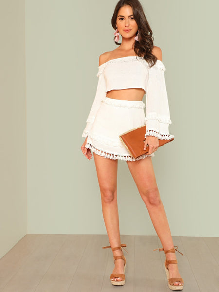 Bell Sleeve Tassel Trim Crop Top & Skirt Set | Two Piece | SHEIN | Joan & Vern's Apparel