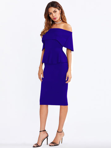 Blue Off the Shoulder Peplum Knee Length Dress