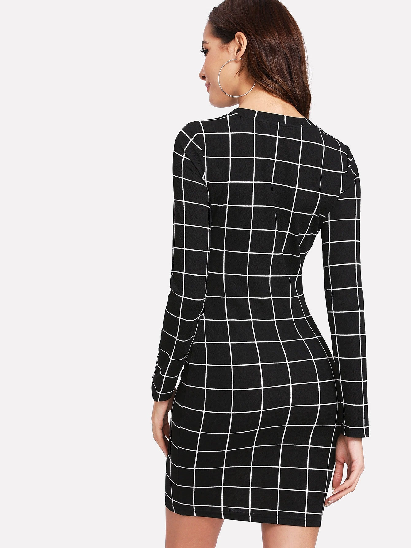 Black Plaid Long Sleeve Bodycon Mini Dress | Mini Dress | SHEIN | Joan & Vern's Apparel