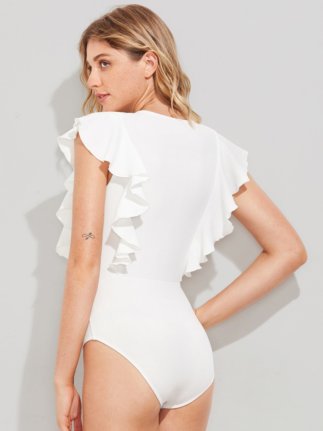 Cute White Ruffle Capped Sleeve Bodysuit | bodysuit | SHEIN | Joan & Vern's Apparel