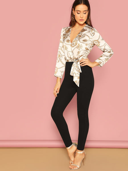 Long Sleeve Chain Print Combo Wrap Jumpsuit With Belt
