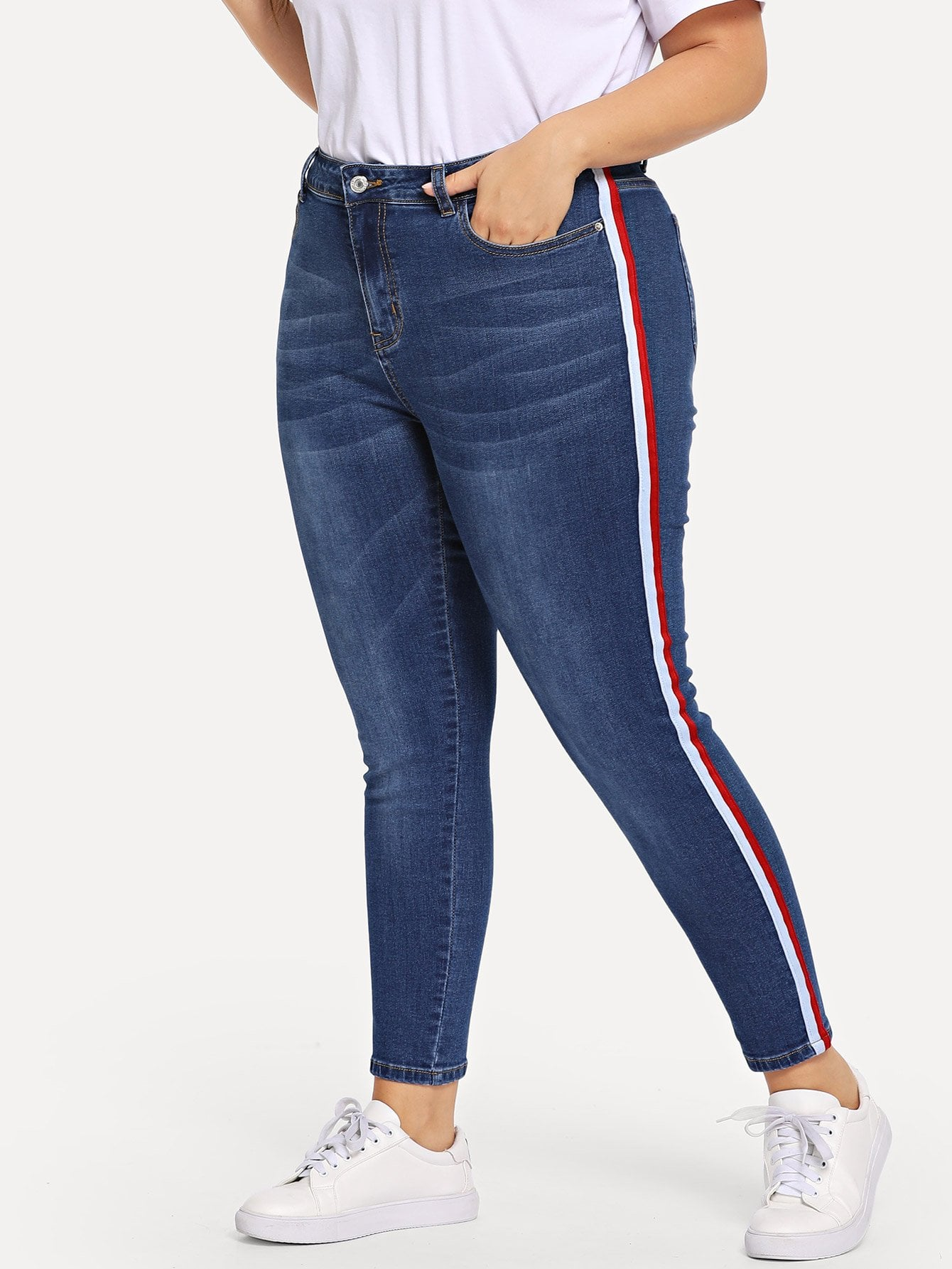 Plus Size Bleach Wash Contrast Tape Side Jean