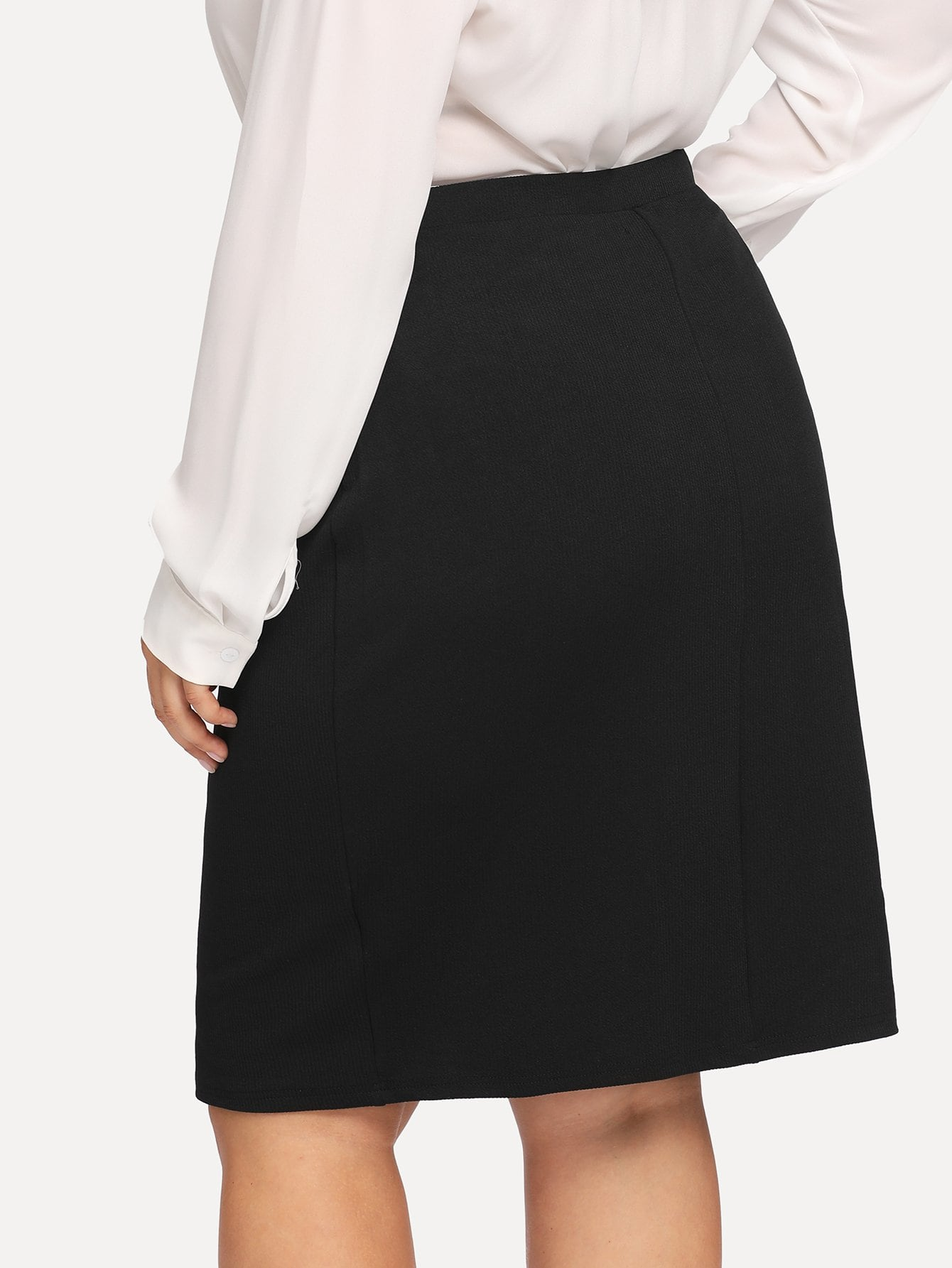 Plus Size Solid Black Knee Length Wrap Skirt | Plus Size Bottoms | SHEIN | Joan & Vern's Apparel