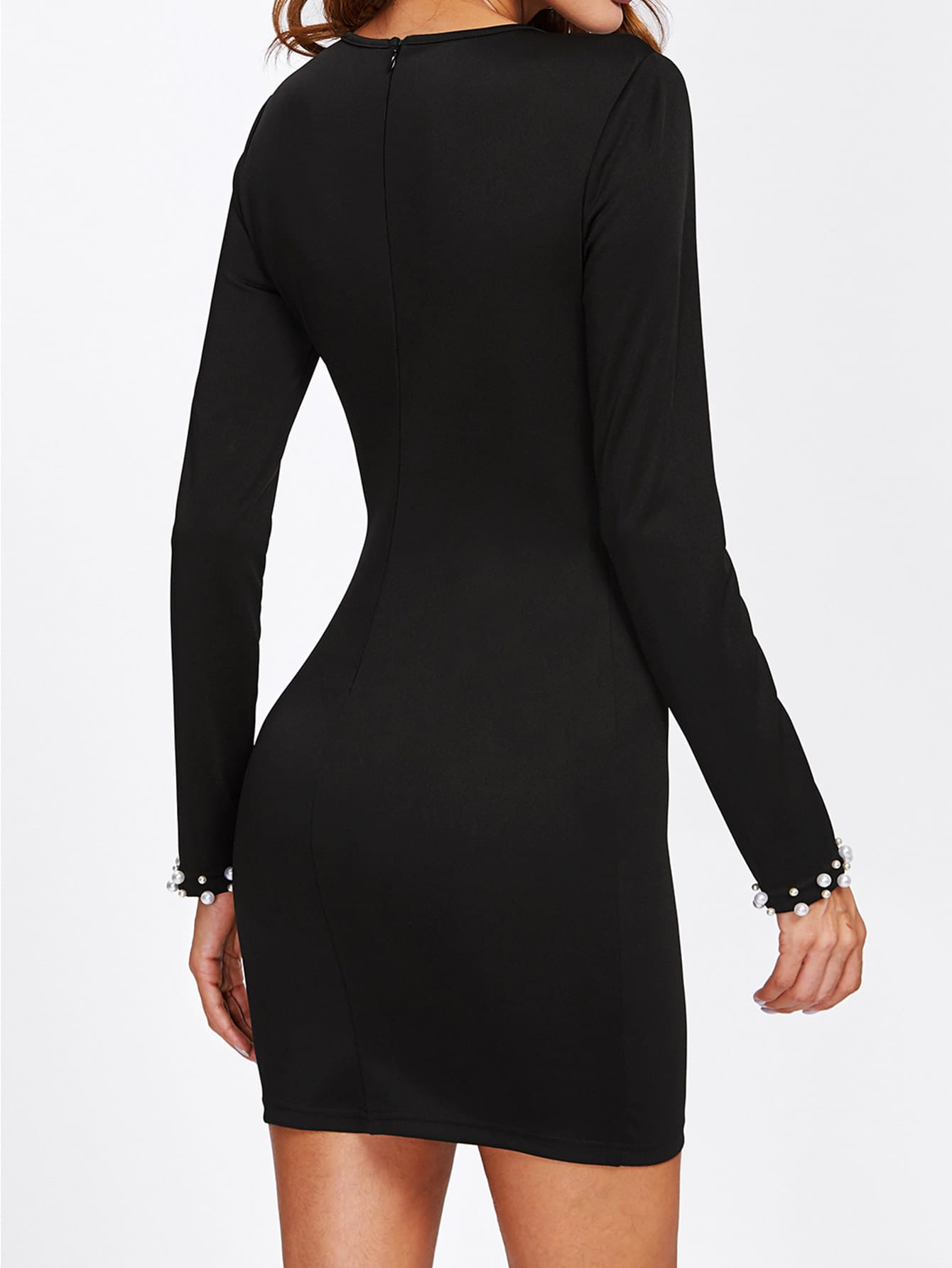 Pearl Beaded Embellished Black Long Sleeve Mini Dress