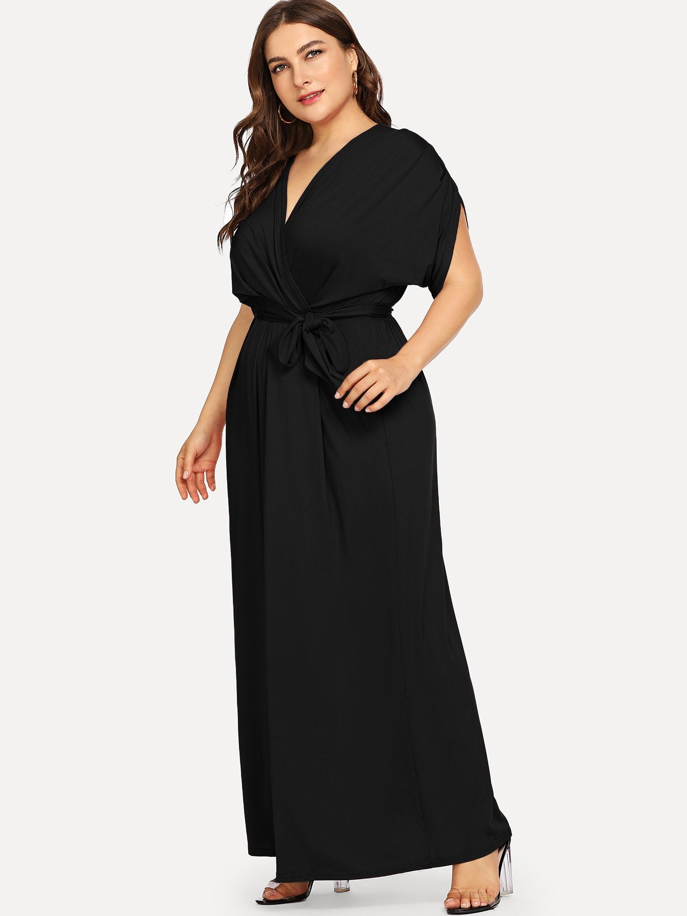 Plus Size Black Self Tie Maxi Dress | Plus Size Dresses | SHEIN | Joan & Vern's Apparel