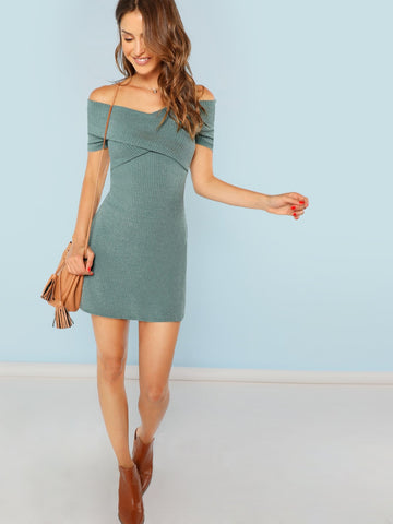 Off Shoulder Cross Wrap Front Mini Dress