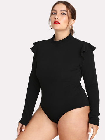 Plus Size Black Long Sleeve Stand Collar Bodysuit