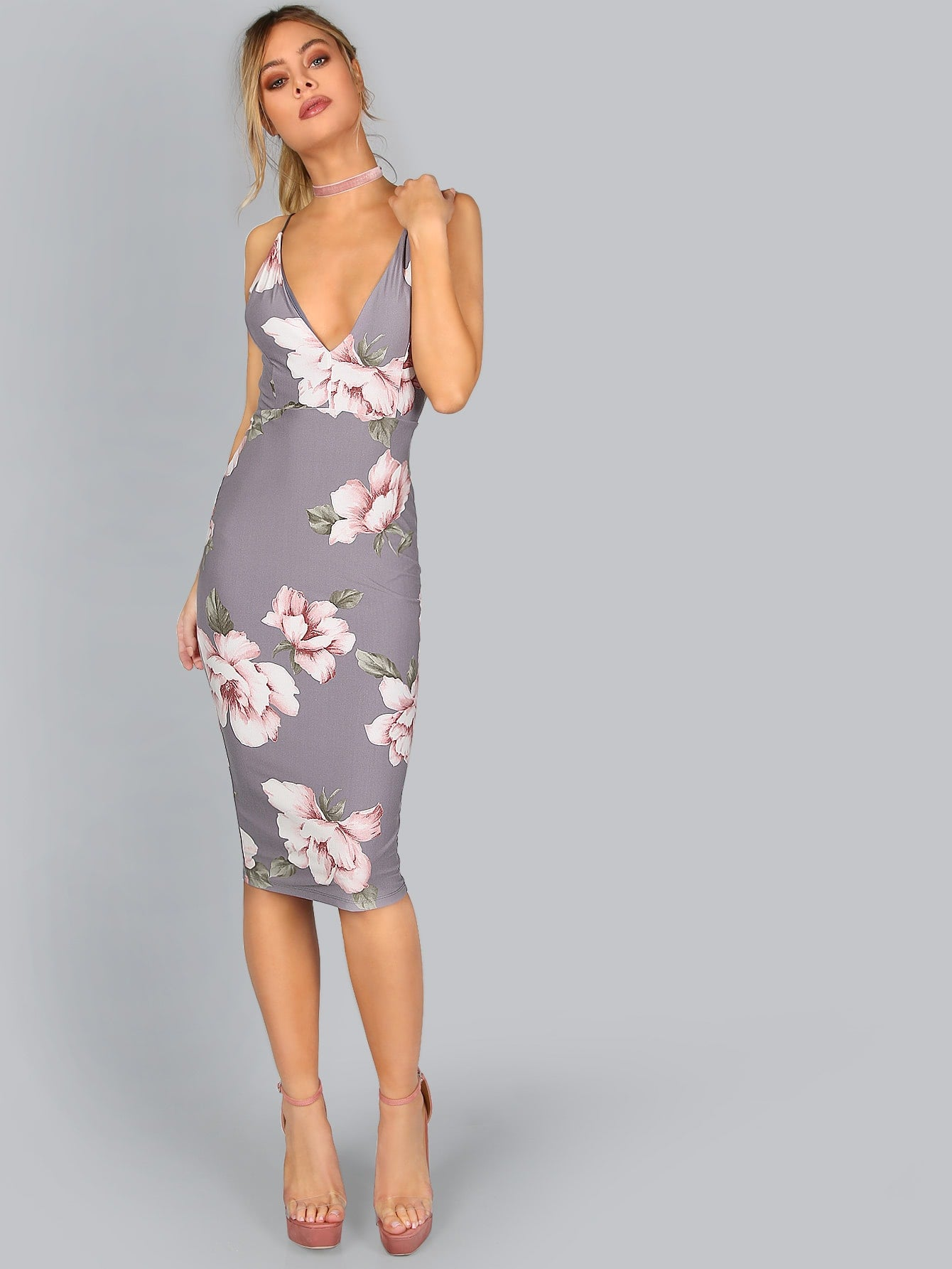 5c1a06b139 Grey Floral Print Plunge Neck Backless Midi Dress