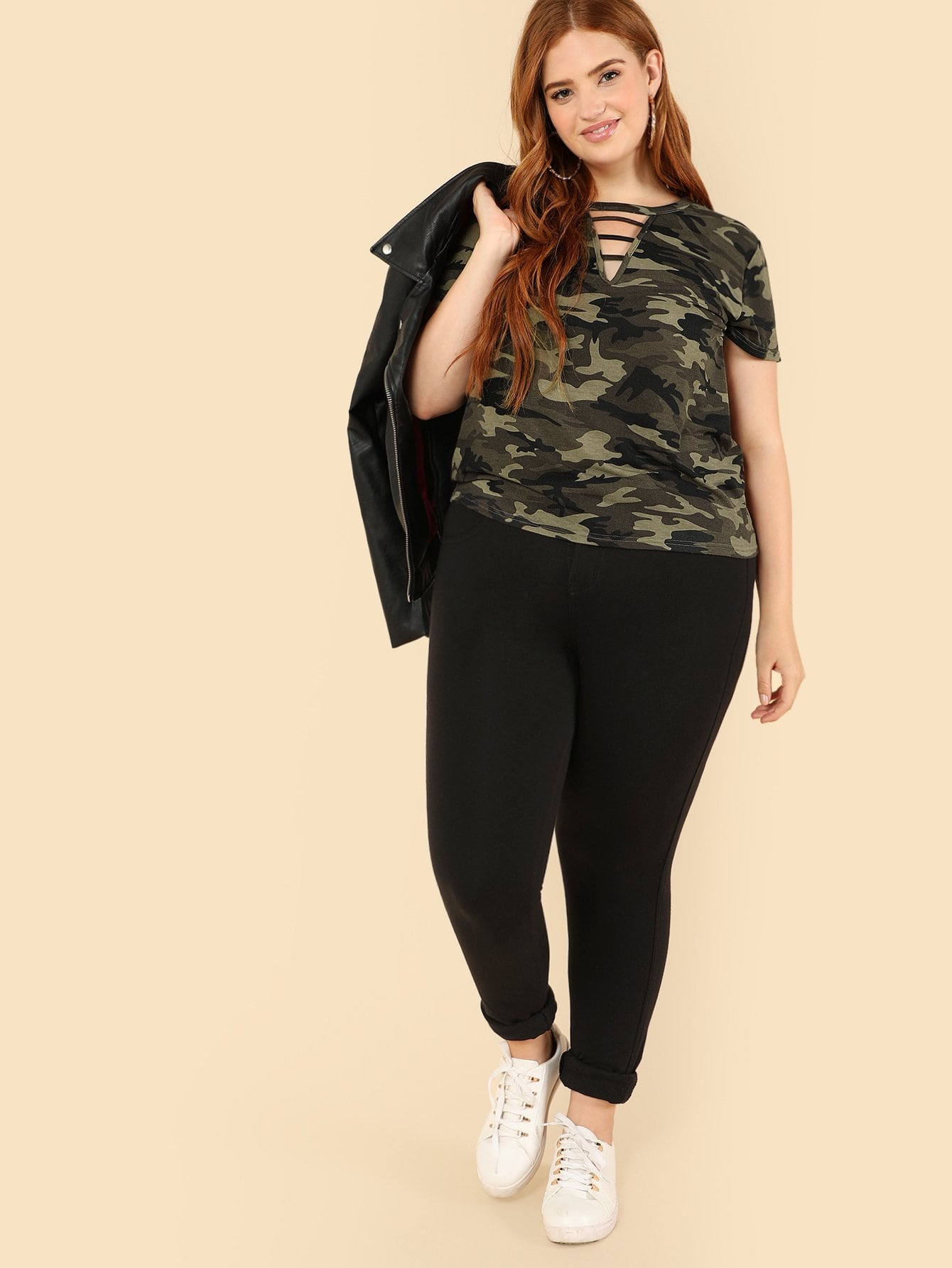 Plus Size Cut Out Neck Camo T-shirt