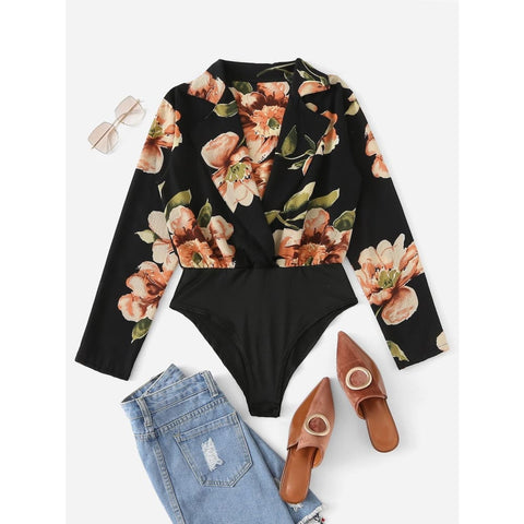 Floral-Print-Long-Sleeve-Bodysuit - Shein - Joan & Verns Apparel