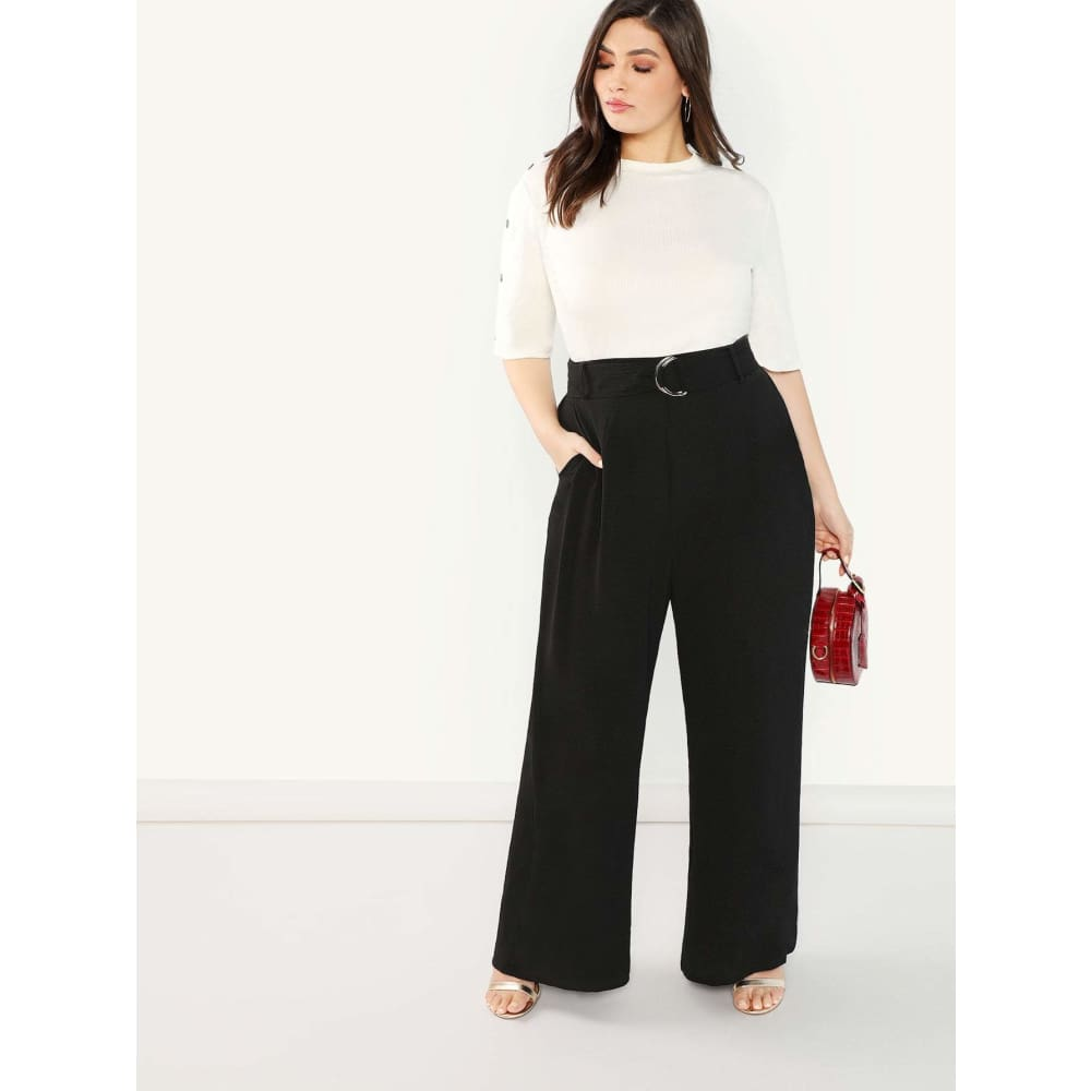Plus Size Adjustable Belted Wide Leg Pants | Plus Size Bottoms | SHEIN | Joan & Vern's Apparel