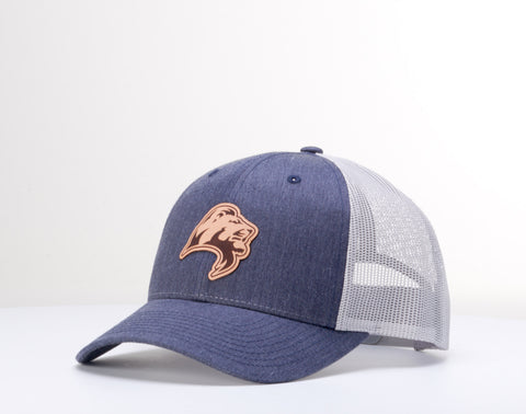 Leather Lion Patch Cap - Navy Heather