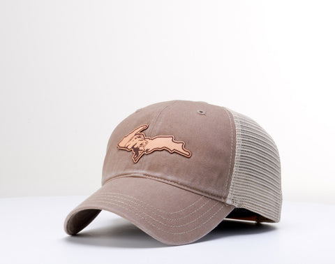 Leather UP Patch Cap - Khaki
