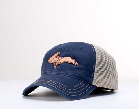 Leather UP Patch Cap - Navy