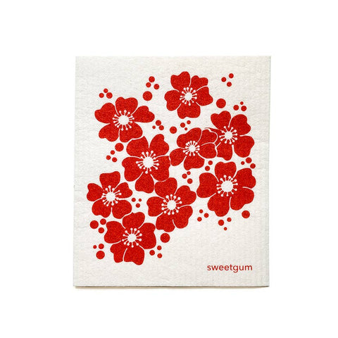 Dishcloth - Red Flowers
