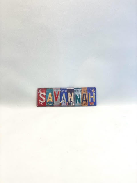 License Plate Stamped Savannah Magnet