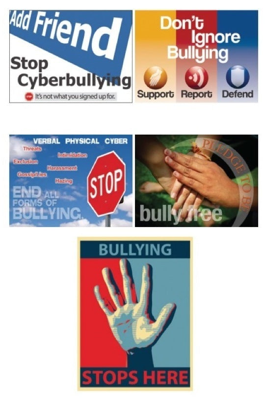 Stop Bullying Now Posters Set of 5 Laminated