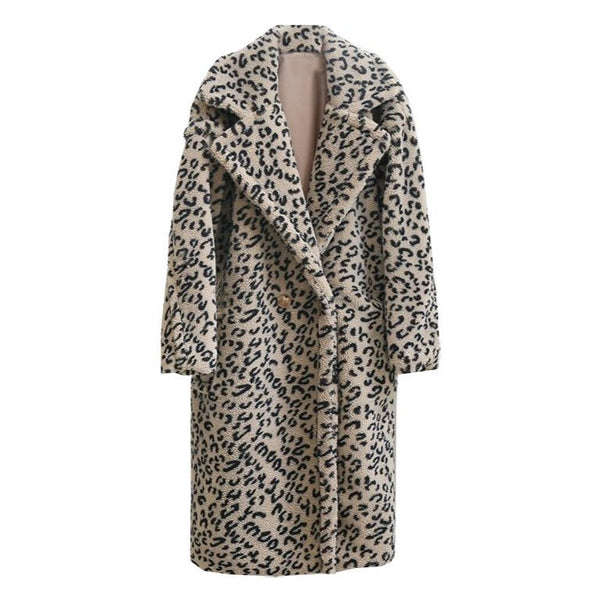 LEOPARD TEDDY MAXI COAT