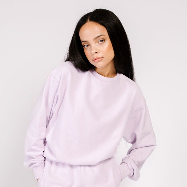 BUTTER FLEECE CREW LILAC