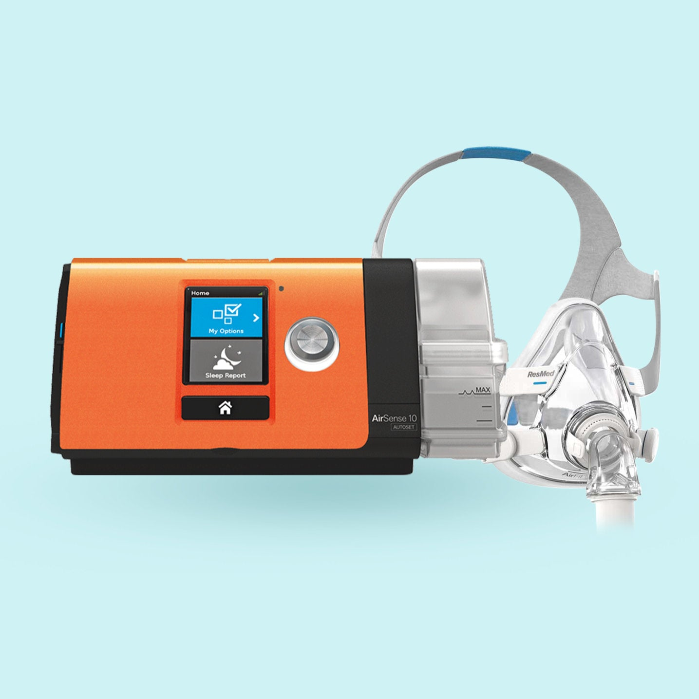 AirSense 10 with orange faceplate side by side with an AirFit mask.