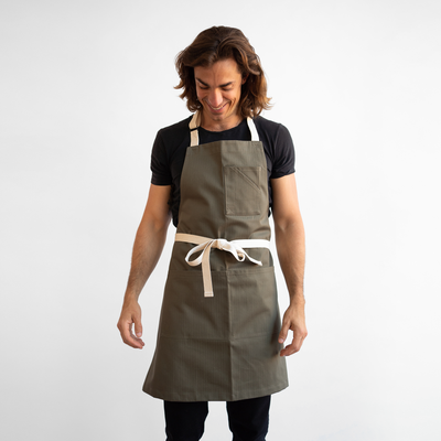 Army Green Herringbone Stock Apron